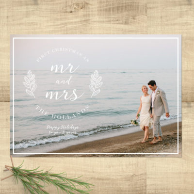 Mr. & Mrs. First Christmas Photo Holiday Card - Pixie