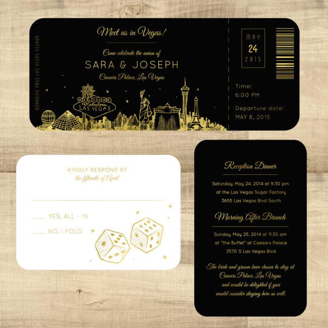 Foil Plane Ticket To Las Vegas Wedding Invitation Pixie