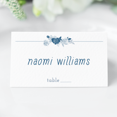 Linear Floral Wedding Escort Cards