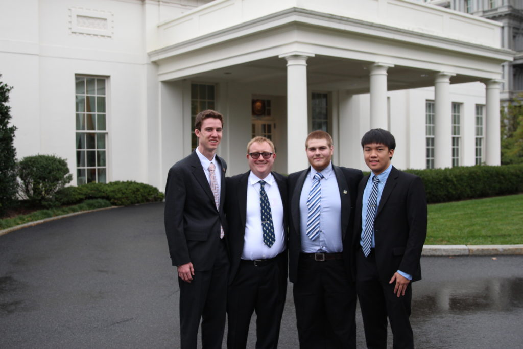 The WNUW group outside the West Wing