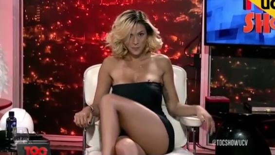 Spanish tv host flashes crotch