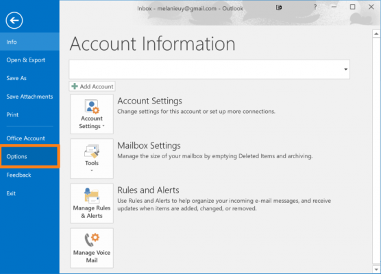 outlook options