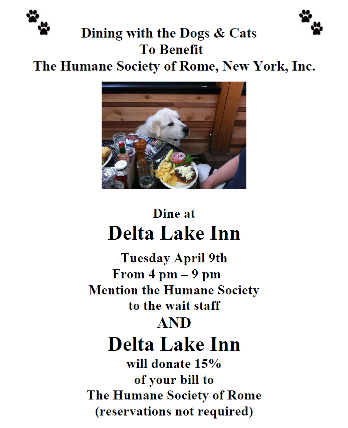 Dining for Dogs and Cats Too @ Delta Lake Inn