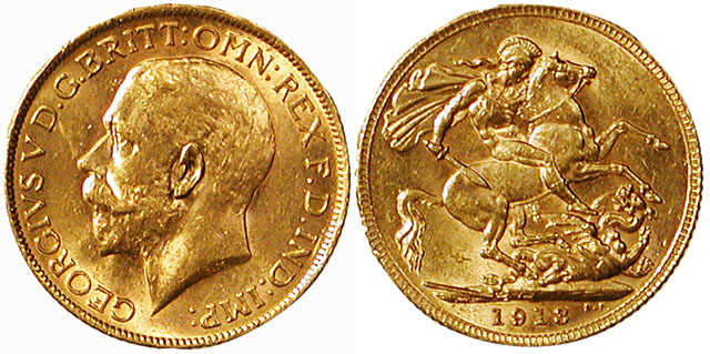 1913 Gold Sovereign of King George V