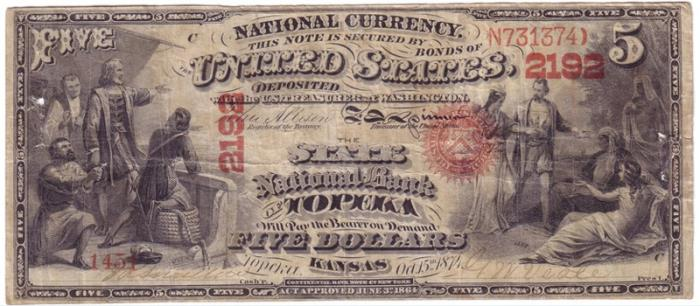 State National Bank of Topeka 1865 $5 National Currency, via www.antiquebanknotes.com