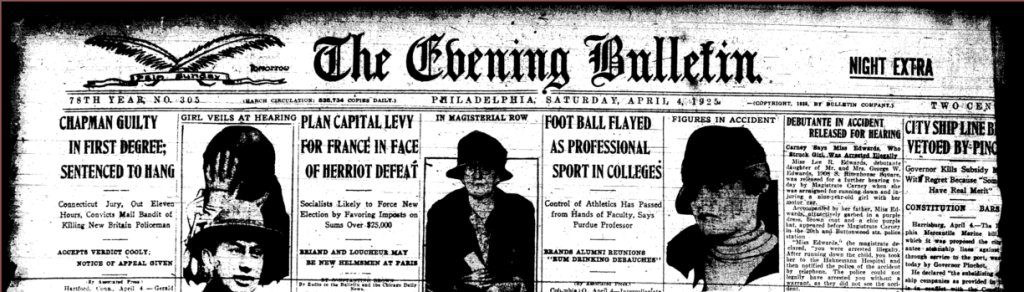 Philly Evening Bulletin 04041925 Masthead