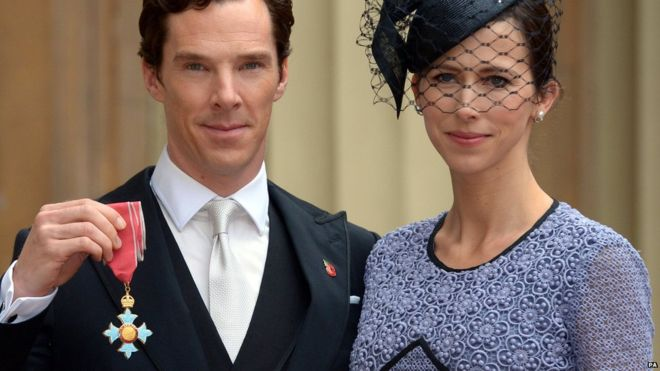 Benedict Cumberbatch, with wife Sophie Hunter, displaying his CBE after the ceremony
