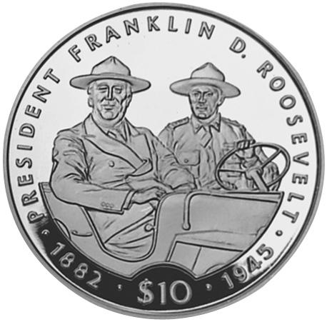 Liberian 1995 Coins Honoring BSI Members Roosevelt & Truman