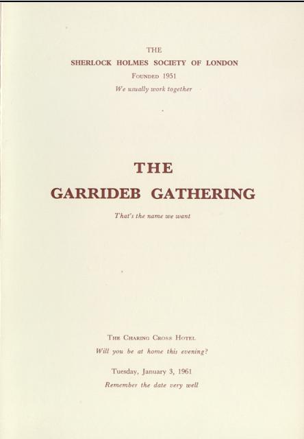 Menu Card of the 1961 SHSL Garrideb Gathering