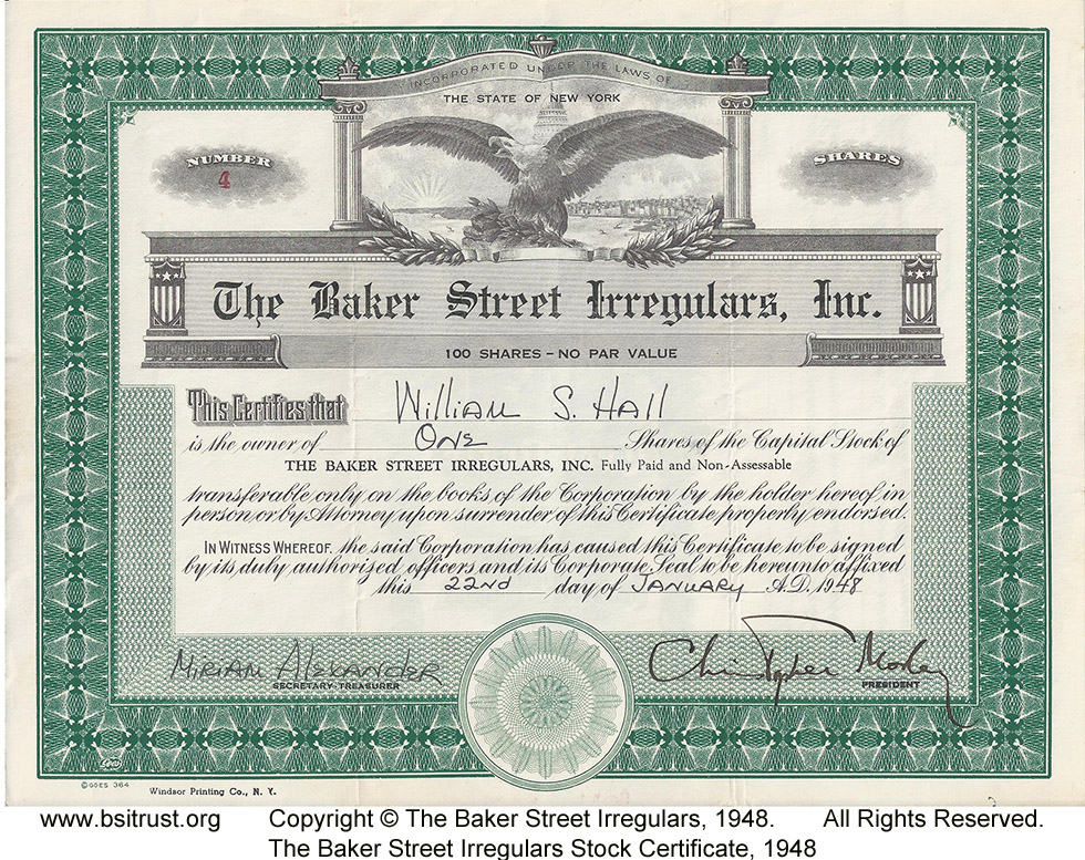 Stock Certificates of the BSI