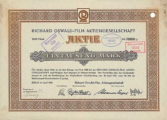 A German Stock Certificate for Sherlockian Film Maker Richard Oswald