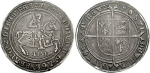 Crown. Edward VI. 1551-1553. Fleur de lis on crest