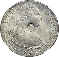 Spanish 8 reale countermarked with head of George III