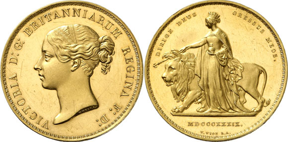 "Queen Victoria - ""Young Head"" ~ Una and the Lion £5"