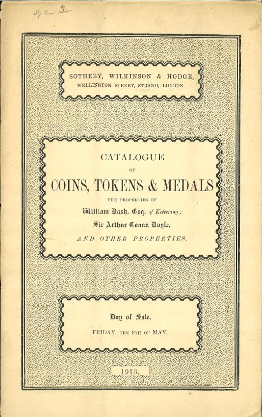 Sotheby's May 9, 1913 Cataloging of Arthur Conan Doyle's Coins