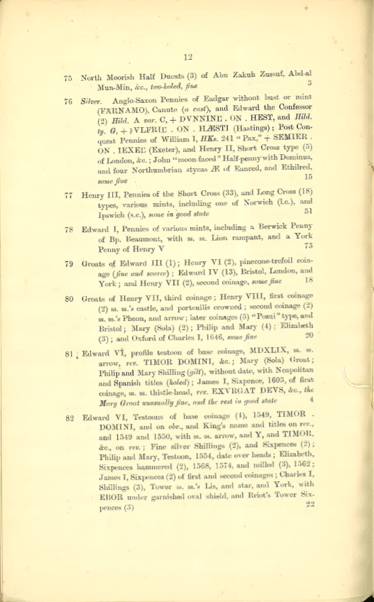 19130509 Sotheby Catalog Lots 75-82
