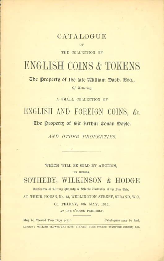 An Annotated Copy of the May 9, 1913 Sotheby's Auction of Arthur Conan Doyle's Coin Collection