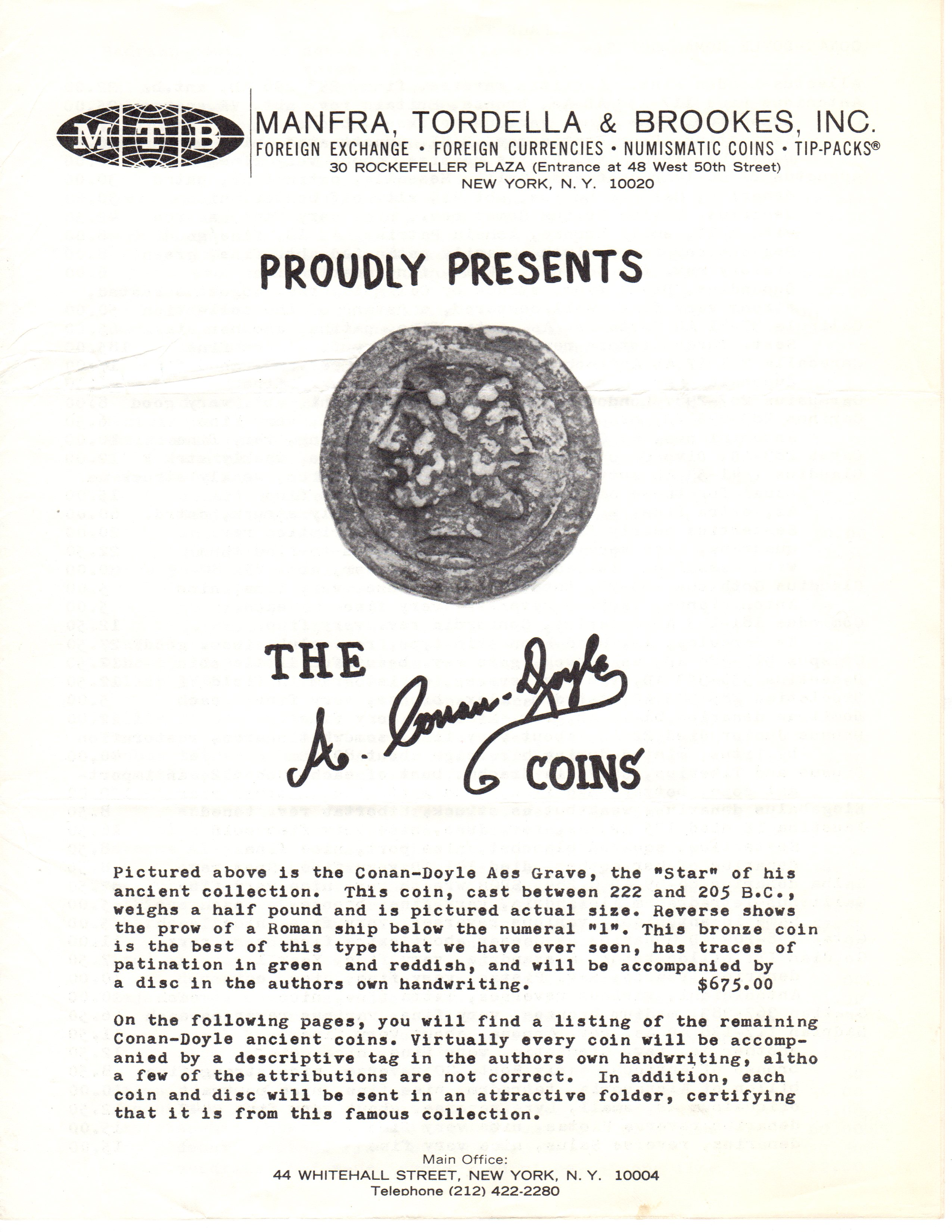 MTB's 1968 Price List of Arthur Conan Doyle's Ancient Coin Collection