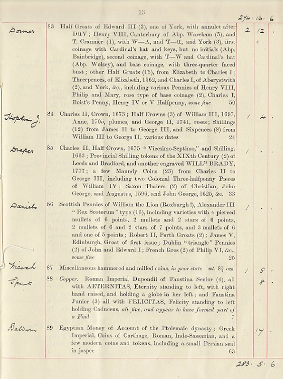 Page 13 of the Annotated Copy of the May 9, 1913 Sotheby's Auction of Arthur Conan Doyle's Coin Collection ~ Fitzwilliam Museum