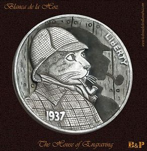 The Sherlock Cat 1937 Hobo Nickel by Blanca de la Hoz