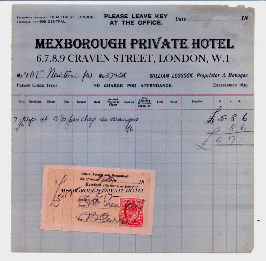 They lodged, I find, at the Mexborough Private Hotel, in Craven Street, which was actually one of those called upon by my agent in search of evidence. Here he kept his wife imprisoned in her room while he, disguised in a beard, followed Dr Mortimer to Baker Street, and afterwards to the station and to the Northumberland Hotel. ~ WTB HOUN Evidence Box