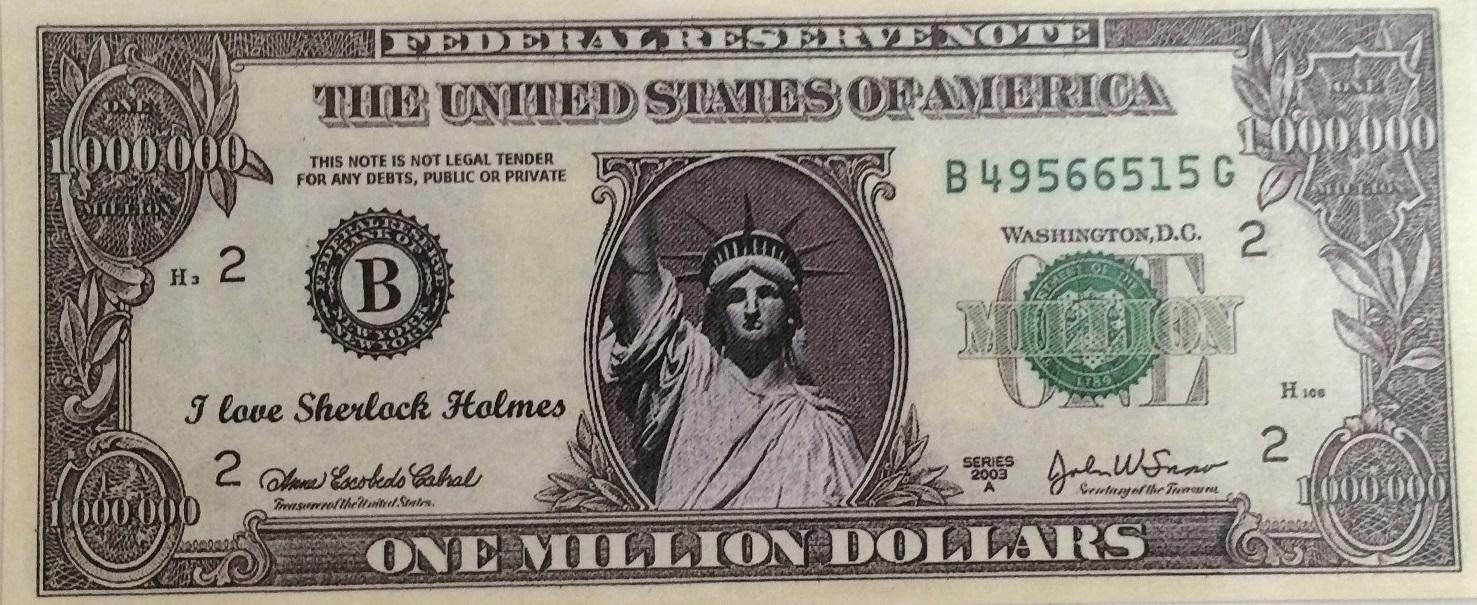 "Sherlockian ""Thanks A Million"" Fantasy Bank Notes"