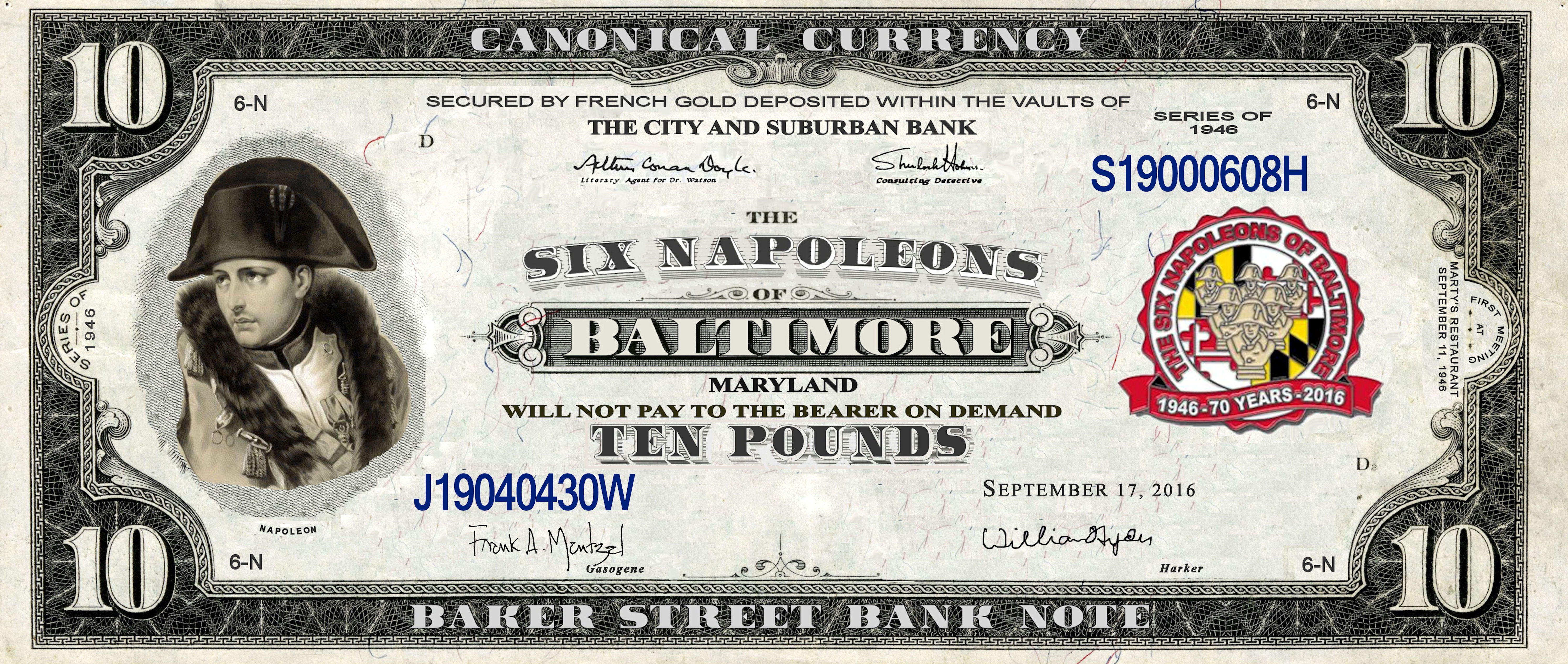 Baltimore's Six Napoleons 70th Anniversary Bank Note