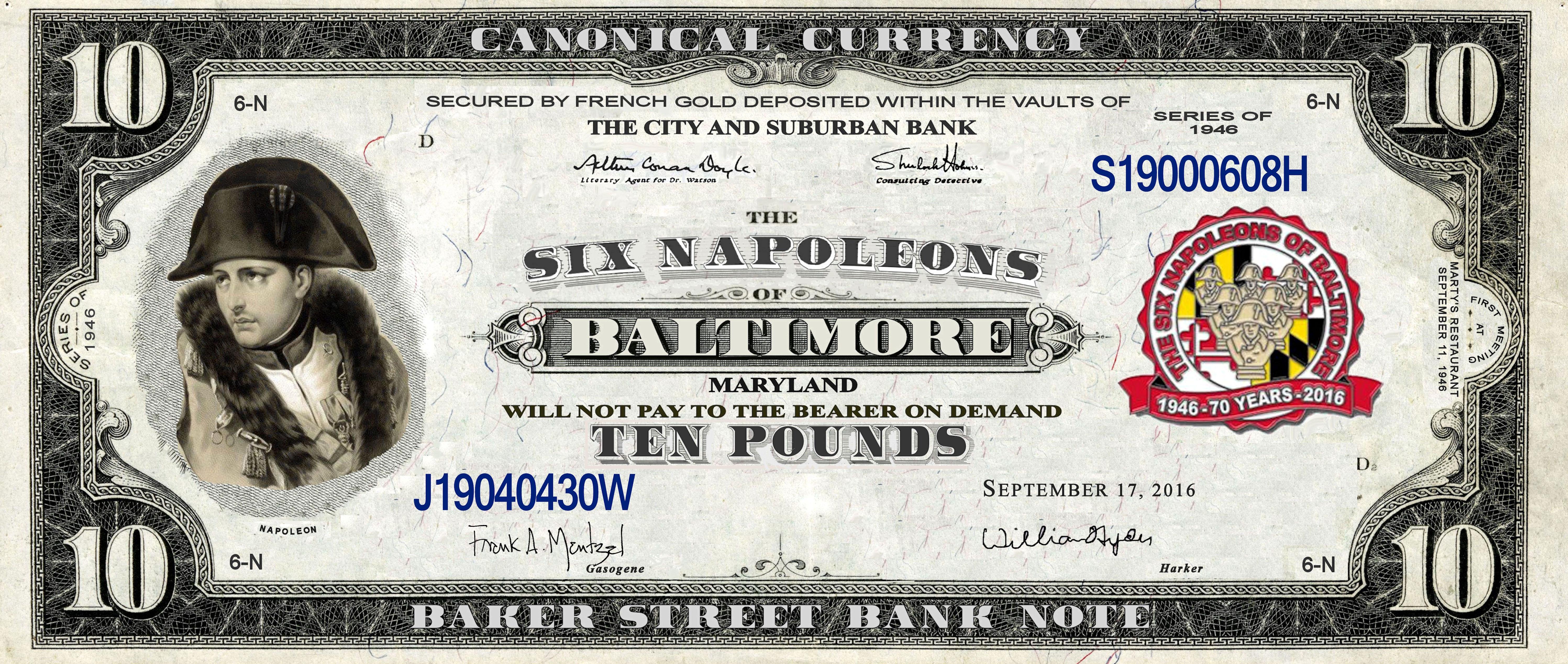 Baltimore's Six Napoleons 70th Anniversary Bank Note