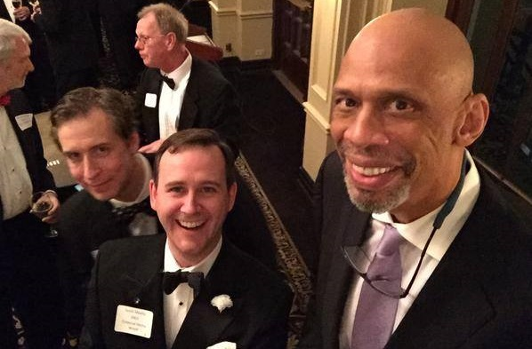 L to R: Tim Greer, Scott Monty & Kareem Abdul-Jabbar at the 2015 BSI Dinner. Photo by I Hear of Sherlock Everywhere