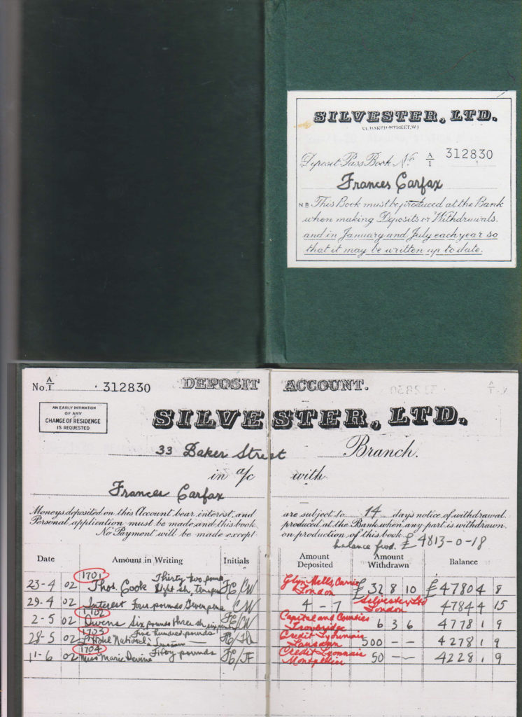 """Single ladies must live, and their passbooks are compressed diaries. She banks at Silvester's."" ~ WTB LADY Evidence Box"