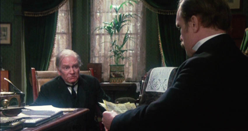 "Sherlock is obsessed with Laurence Olivier (Professor James Moriarty) whom he accuses of being head of all-powerful criminal organisation. ""He fosters a ghastly illusion and I come to you as his friend rather than turning the matter over to my solicitor""."