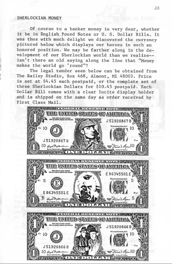 The Rathbone & Bruce Personality Dollar Bills | The Fourth Garrideb