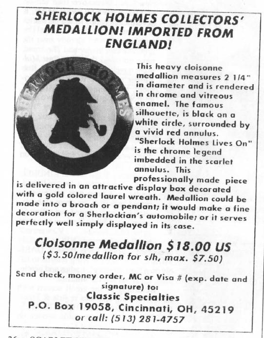 The 1992 Sherlock Holmes Lives On Medal