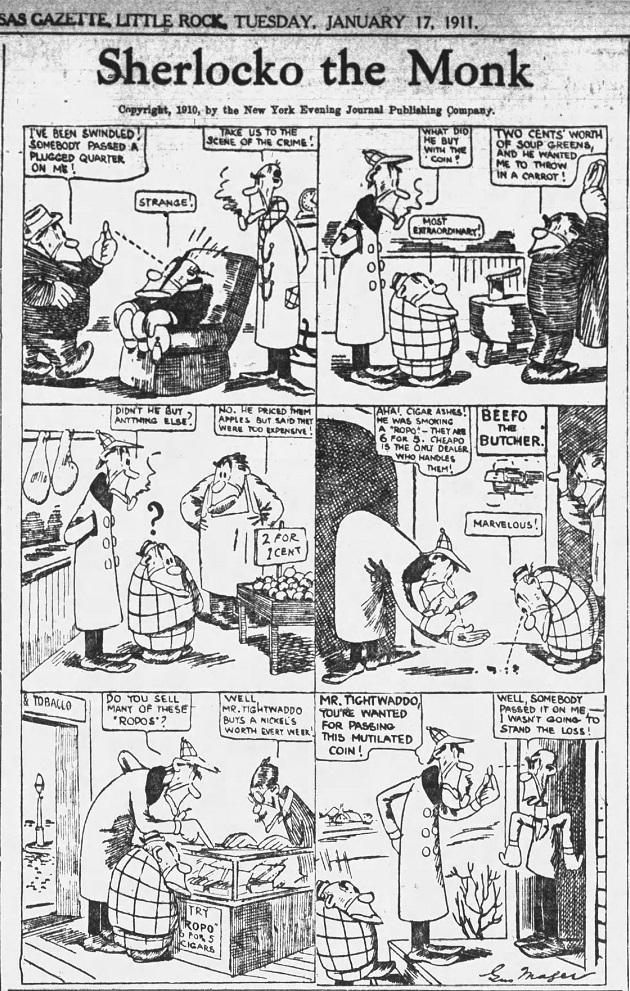 Sherlocko the Monk: The Episode of the Plugged Twenty-Five Cent Piece (January 17, 1911)