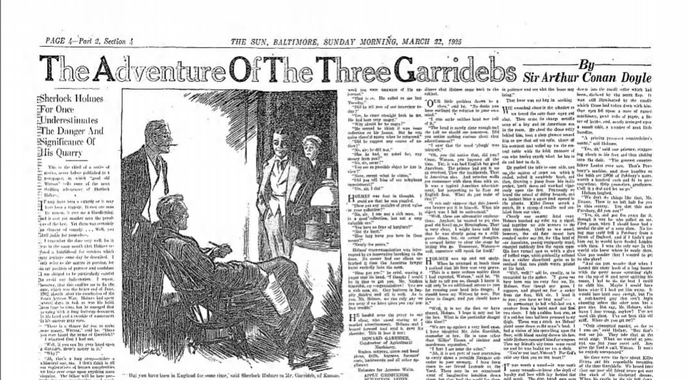 The Baltimore Sun Publishes The Three Garridebs on March 22, 1925