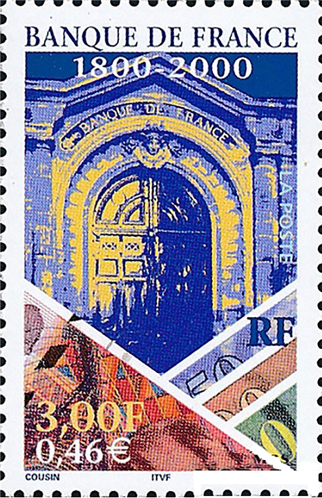Postal Stamp Issued for the Bank of France's Bicentennial in 2000