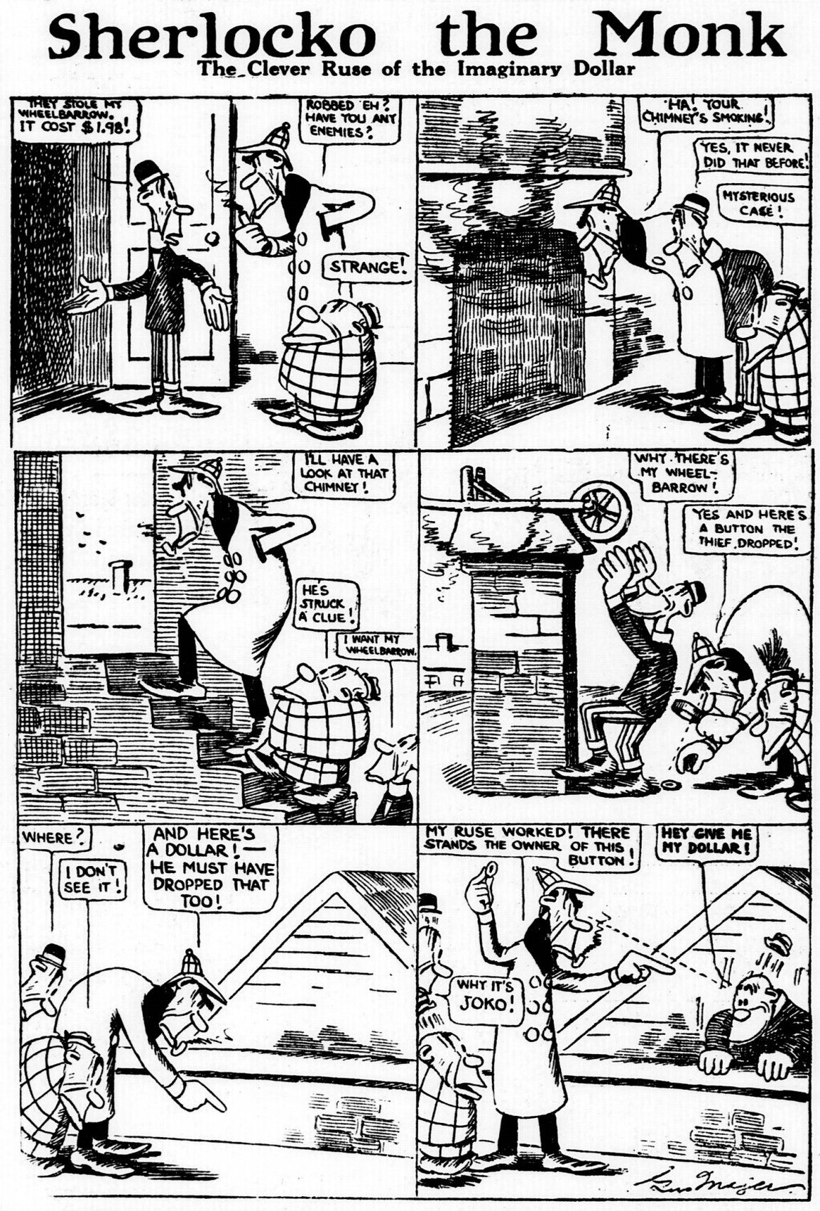 Sherlocko the Monk: The Clever Ruse of the Imaginary Dollar (January 5, 1911)