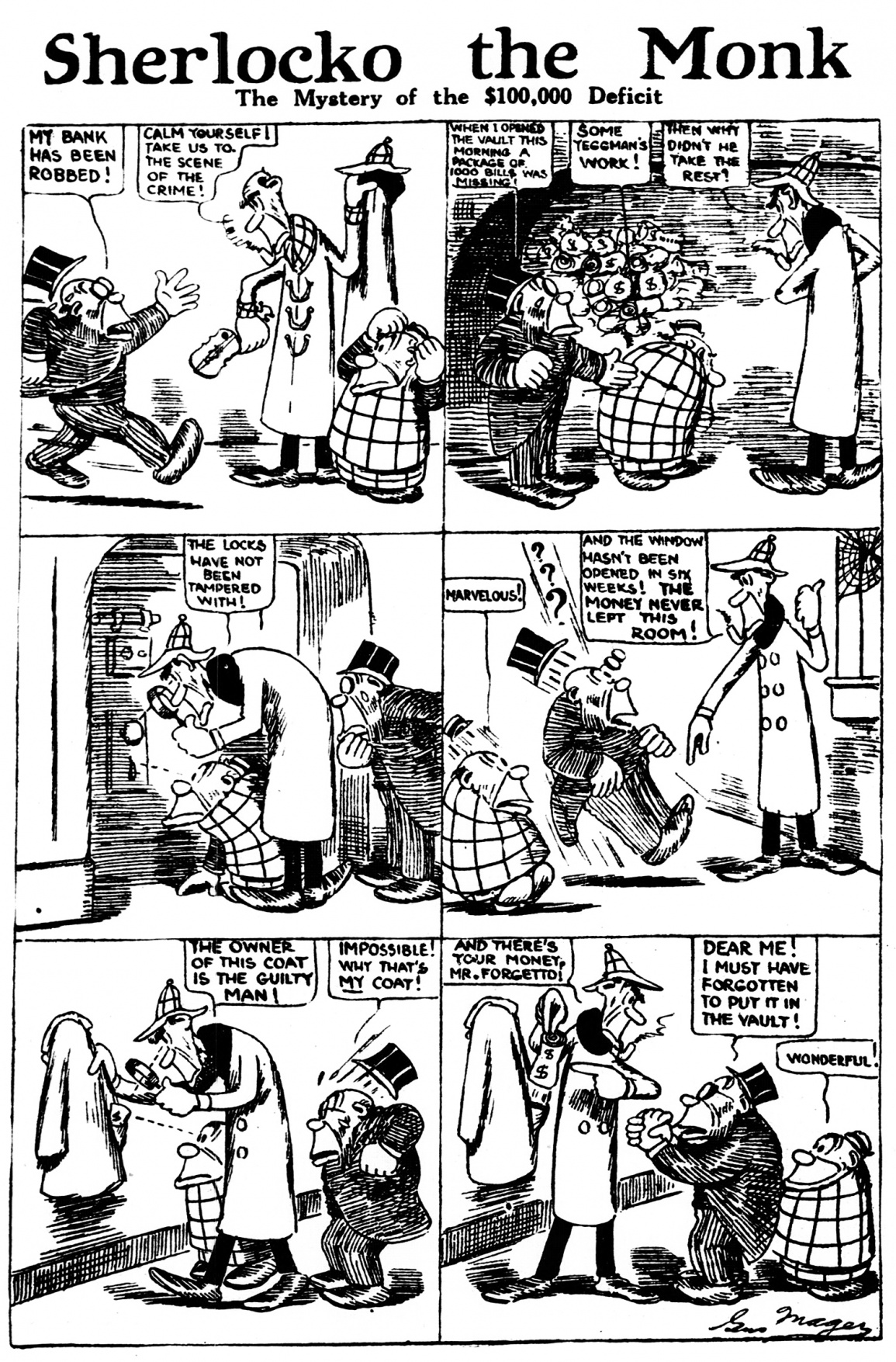 Sherlocko the Monk: The Mystery of the $100,000 Deficit (February 3, 1911)