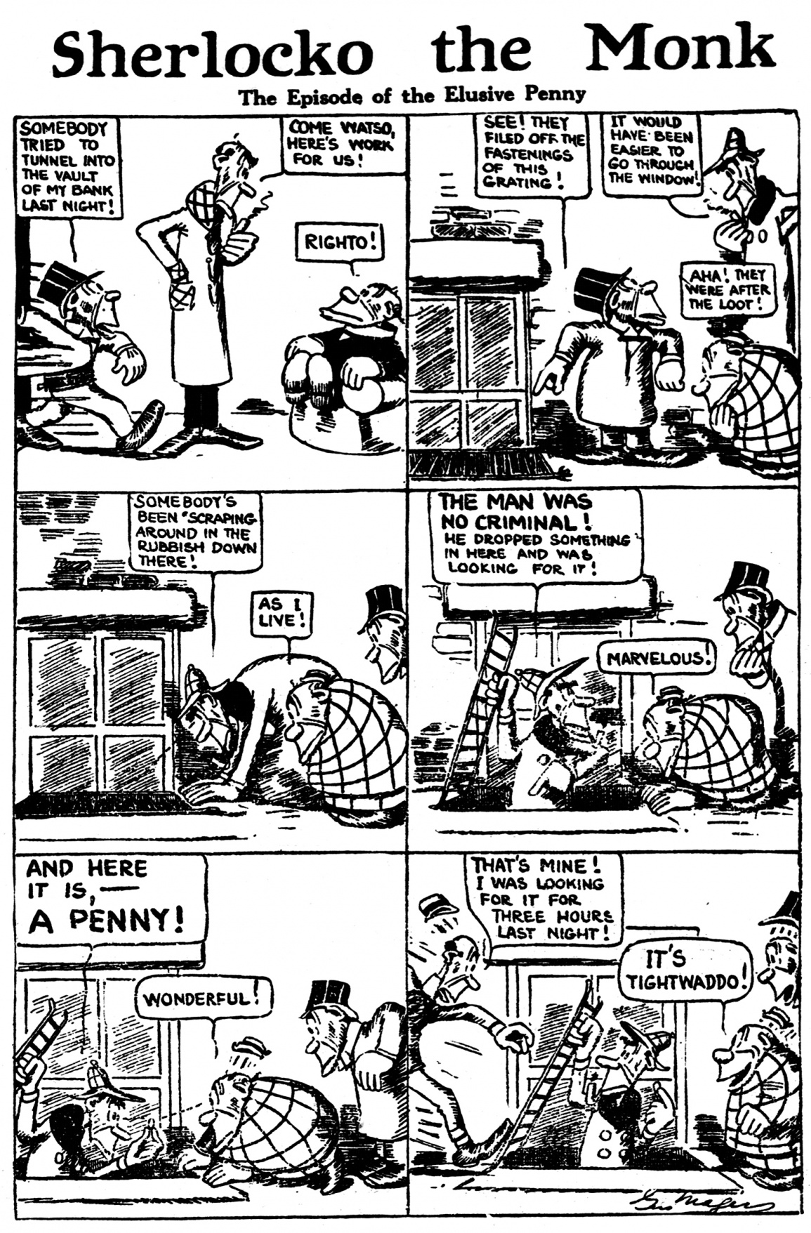 Sherlocko the Monk: The Episode of the Elusive Penny (March 9, 1911)