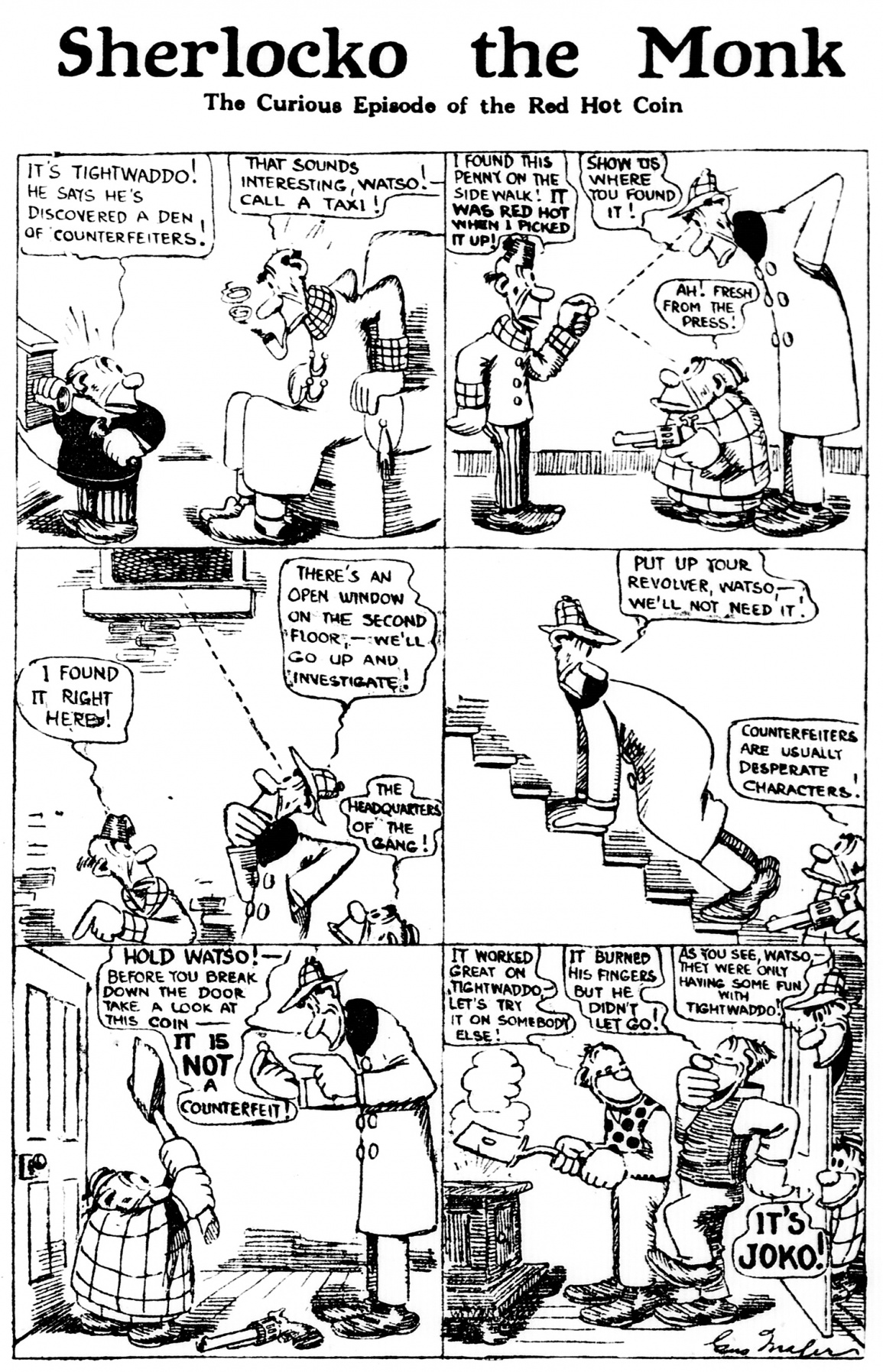 Sherlocko the Monk: The Curious Episode of the Red Hot Coin (May 2, 1911)