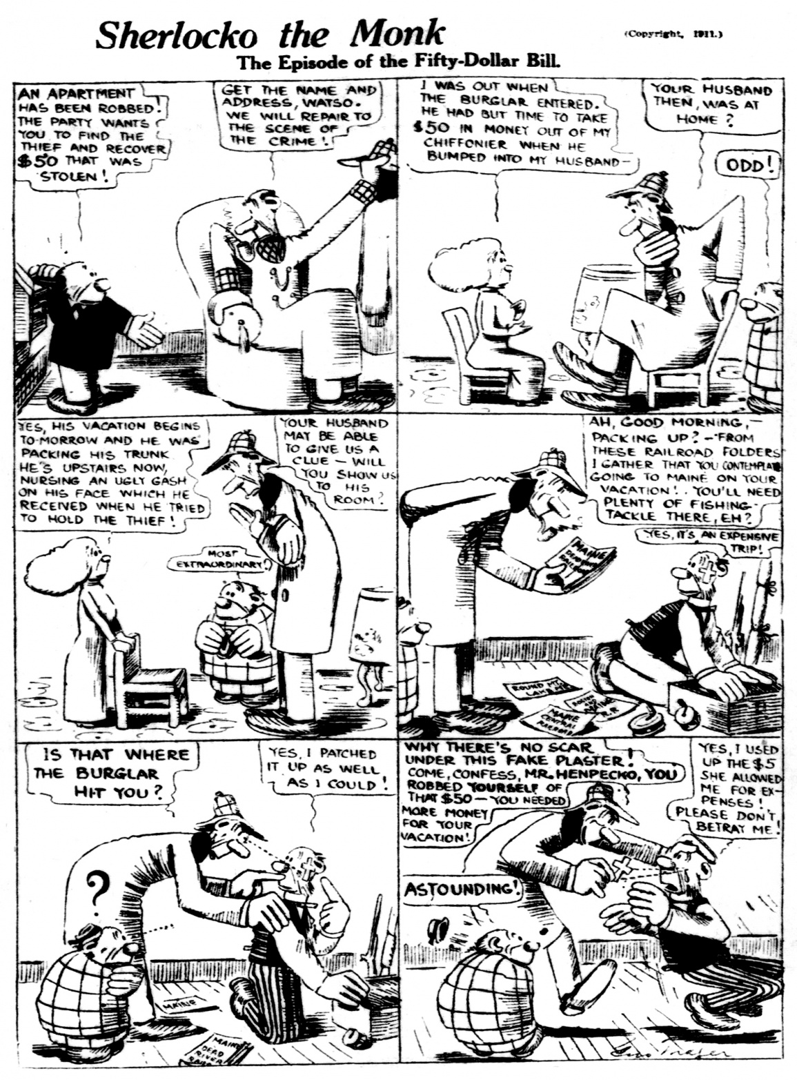 Sherlocko the Monk: The Episode of the Fifty Dollar Bill (July 24, 1911)