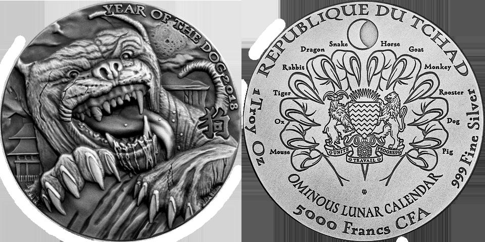 Chad Lunar DOG Sherlock Holmes 2018 Hound Baskervilles OMINOUS Silver coin 1 oz
