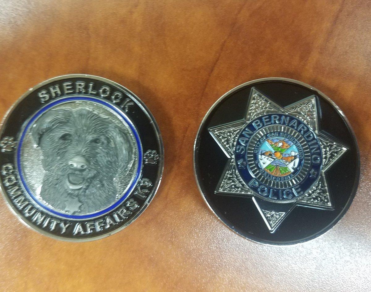 "San Bernadino Police Department Issues Challenge Coin for ""Sherlock"""