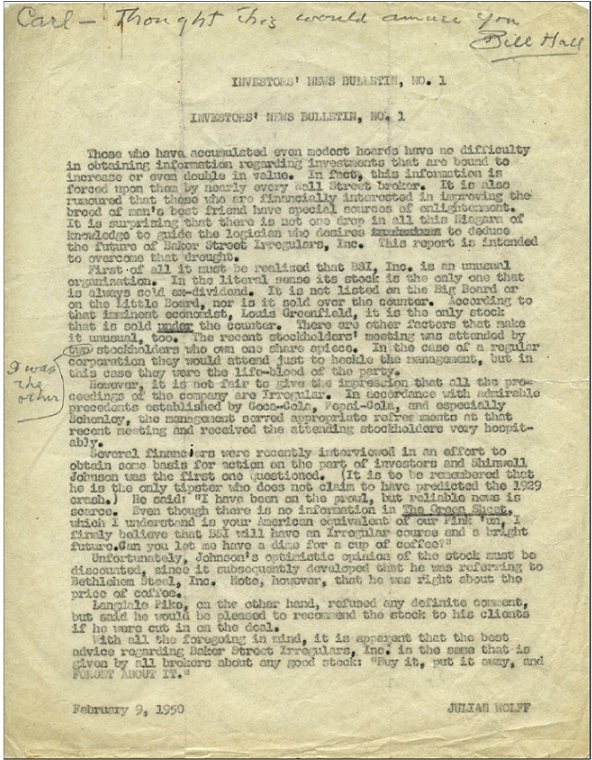 The BSI Investors' Newsletter of February 9, 1950
