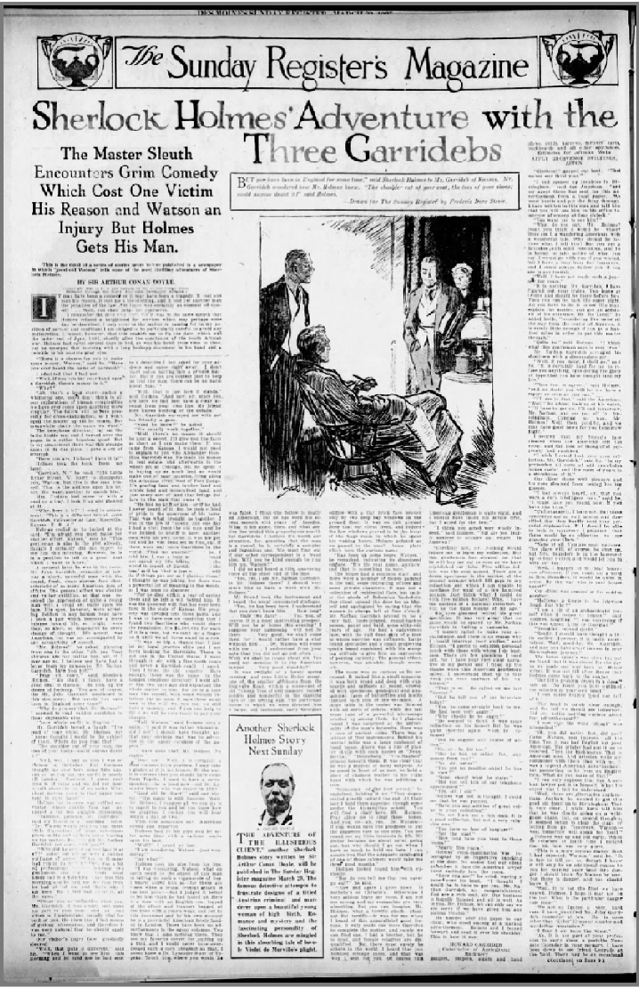 The Des Moines Register Publishes The Three Garridebs on March 22, 1925