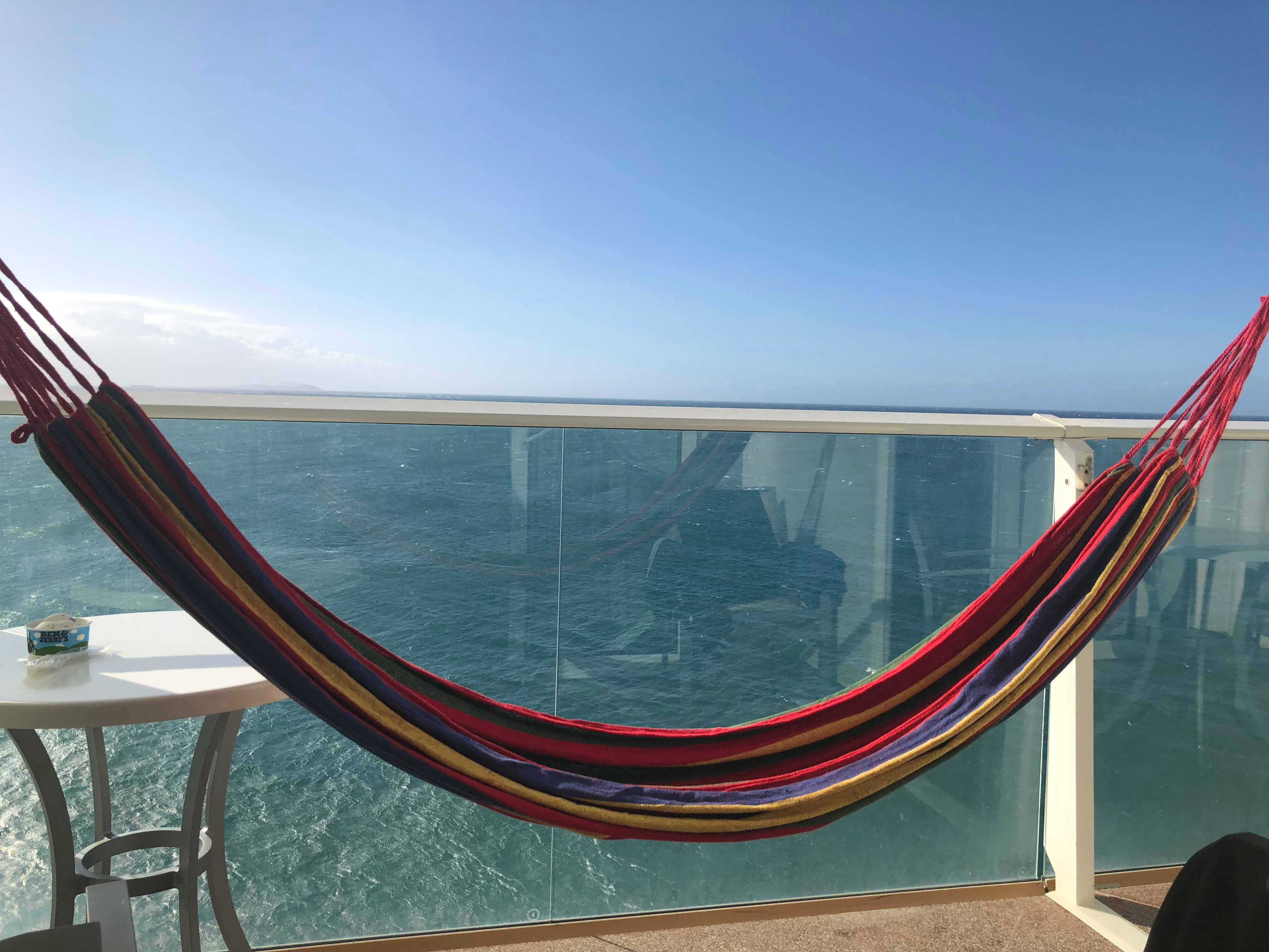 How to set up a Hammock on a Cruise Ship Balcony!
