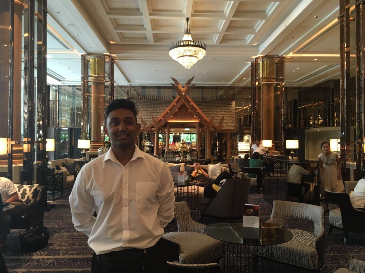 Hassan Mahmud working at a 5 Star Marriott hotel in Bangkok for his overseas placement year in Thailand