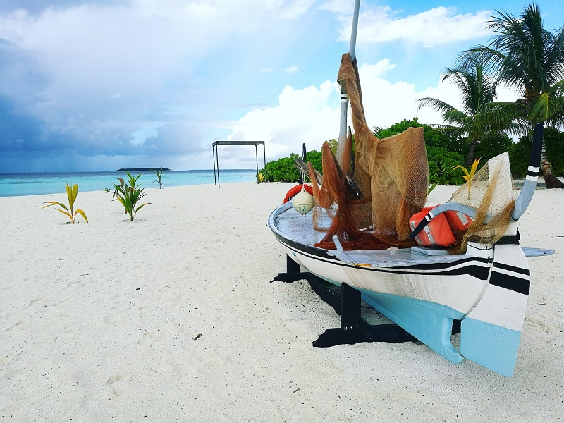 The guest beach at Kamile's Hospitality placement hotel in the Maldives!