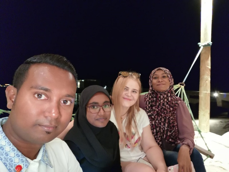 Kamile with some of her work colleagues in the Maldives