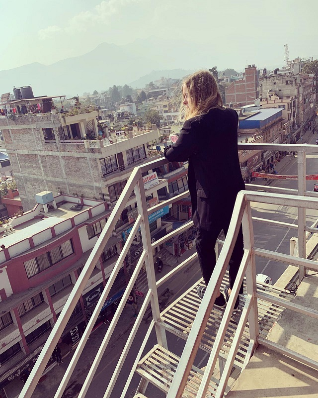 Sara Andersson looking over Kathmandu from the roof terrace at the Placement Year International accommodation.
